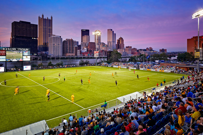 Highmark Stadium at night